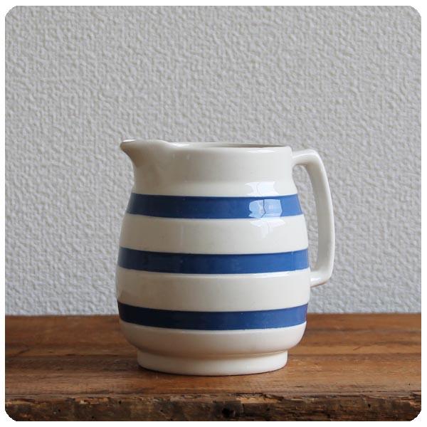 イギリス アンティーク CHEF WARE 陶器ミルクジャグ/コーニッシュウェア/食器【定番ブルー&ホワイトのボーダー柄】Y-180