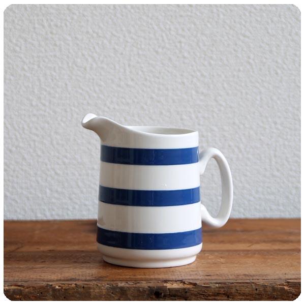 イギリス アンティーク CHEF 陶器ミルクジャグ/コーニッシュウェア/食器【定番ブルー&ホワイトのボーダー柄】Y-181