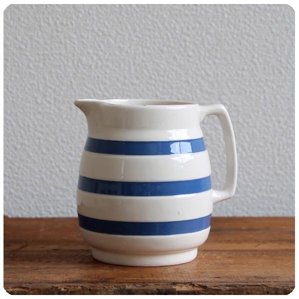 イギリス アンティーク CHEF WARE 陶器ミルクジャグ/コーニッシュウェア/食器【定番ブルー&ホワイトのボーダー柄】Y-182