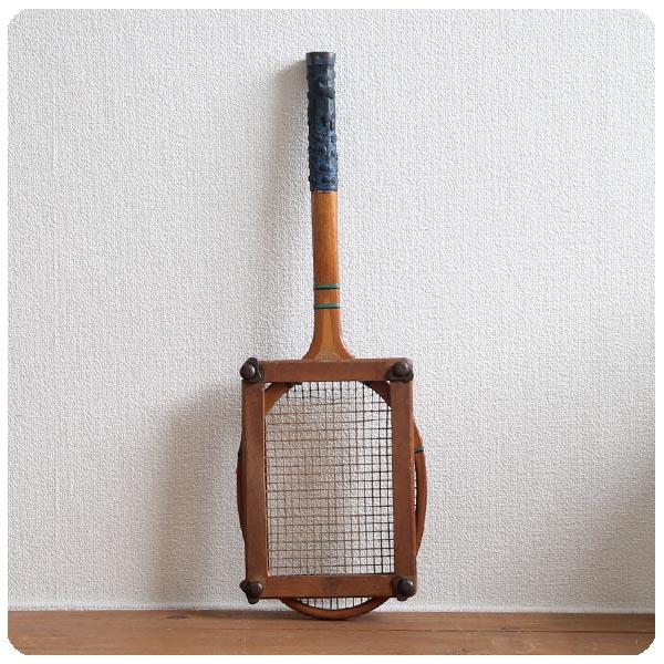 イギリス アンティーク 木製テニスラケット/ラケットプレス付き/インテリア/英国製【雰囲気つくりのディスプレイに】Y-724