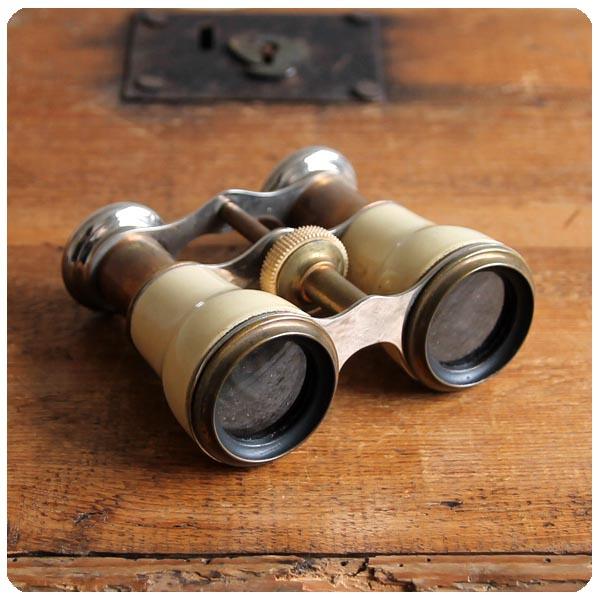 イギリス アンティーク 古い双眼鏡/オペラグラス/オブジェ/インテリア/店舗什器/ディスプレイ【お部屋のアクセントに】Y-735