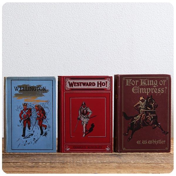 イギリス アンティーク ブック 3冊セット/古本/古書/洋書/インテリア雑貨/書籍/ディスプレイ【Westward Ho!】Z-360