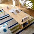 オシャレな収納付き 天然木製 センターテーブル ブランコ [センターテーブル]