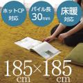 北欧無地 シャギーマイクロファイバーラグカーペット 約185×185cm (ホットカーペット対応)