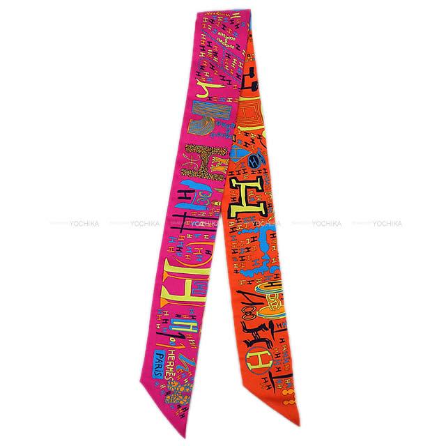 "HERMES エルメス ツイリー スカーフ ""1001H"" オレンジXフューシャXブルー シルク100% 新品"