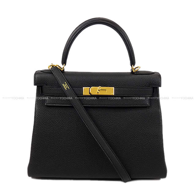 HERMES エルメス ハンドバッグ ケリー28 内縫い 黒(ブラック) トゴ ゴールド金具 新品