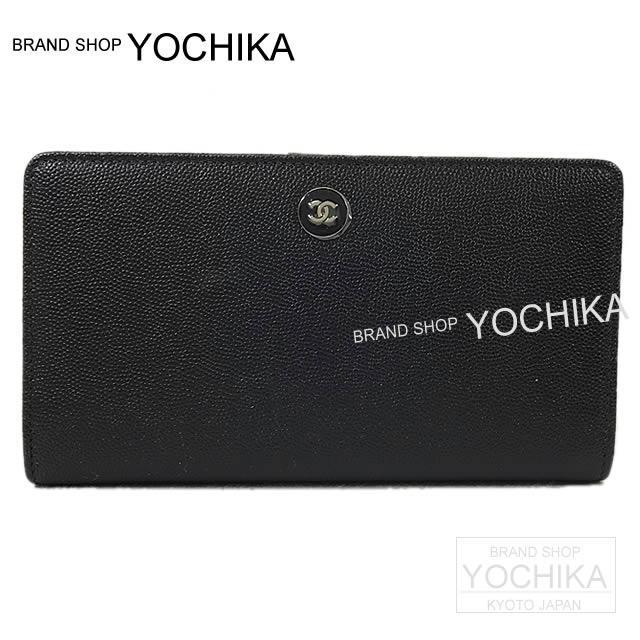 2016 春夏 新作 シャネル ココマーク バイカラー 二つ折 長財布 黒Xシルバー A80891 新品