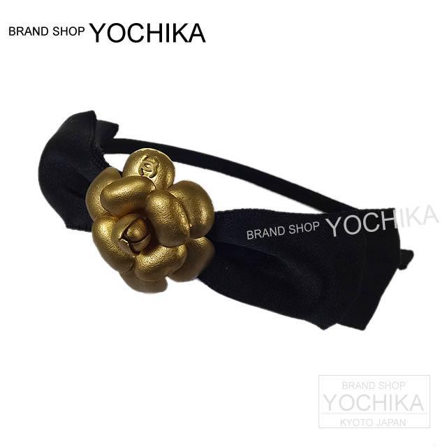 CHANEL シャネル カメリア リボン カチューシャ ヘアアクセサリー 黒Xゴールドブロンズ A53697 新品同様【中古】