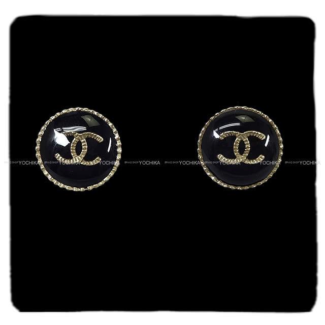 CHANEL シャネル ラウンド ココマーク ボタン ピアス 黒Xゴールド A95896 新品