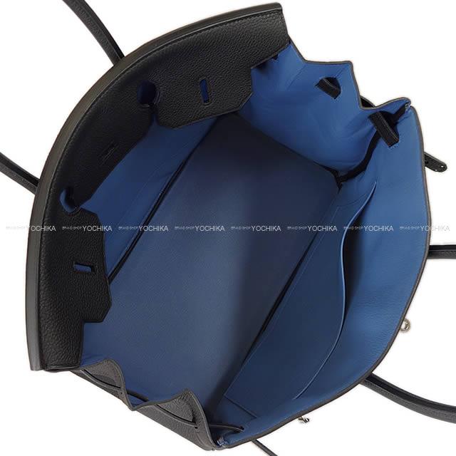HERMES エルメス ハンドバッグ バーキン35 ヴェルソ 黒Xブルーアガット トゴ シルバー金具 新品未使用