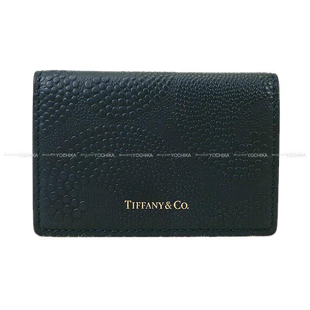 2017年 秋冬 Tiffany&Co ティファニー ウェーブ エンボス カードケース 二つ折り ネイビー レザー 新品未使用