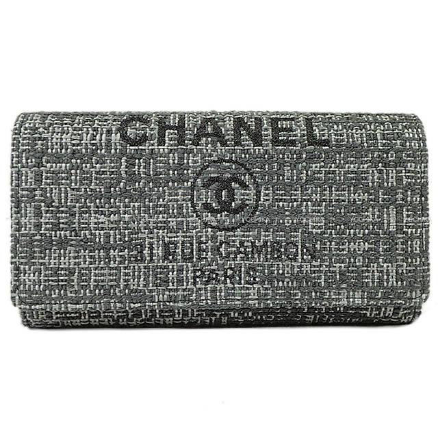 2018年 CHANEL シャネル ドーヴィル ファスナー付フラップ 長財布 ツイードグレー ラフィア A80053 新品
