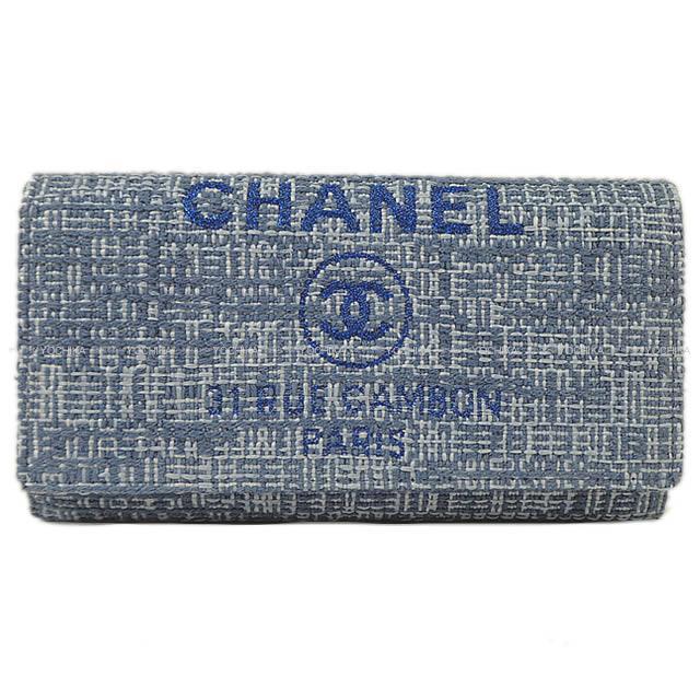 2018年 CHANEL シャネル ドーヴィル ファスナー付フラップ 長財布 ツイードブルー ラフィア A80053 新品