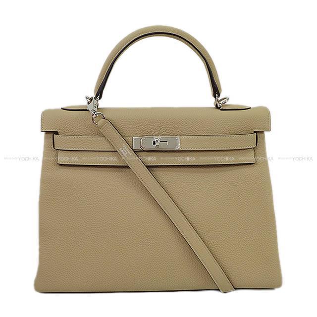 HERMES エルメス ハンドバッグ ケリー32 内縫い トレンチ トゴ シルバー金具 新品