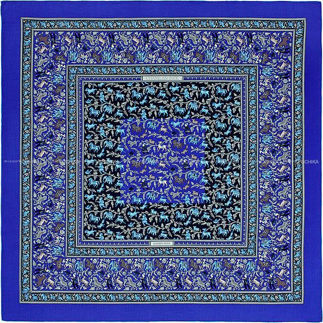 "HERMES エルメス ショール カレ140 ""インドの狩猟"" ブルーエレクトリックXキャバンXグリス"