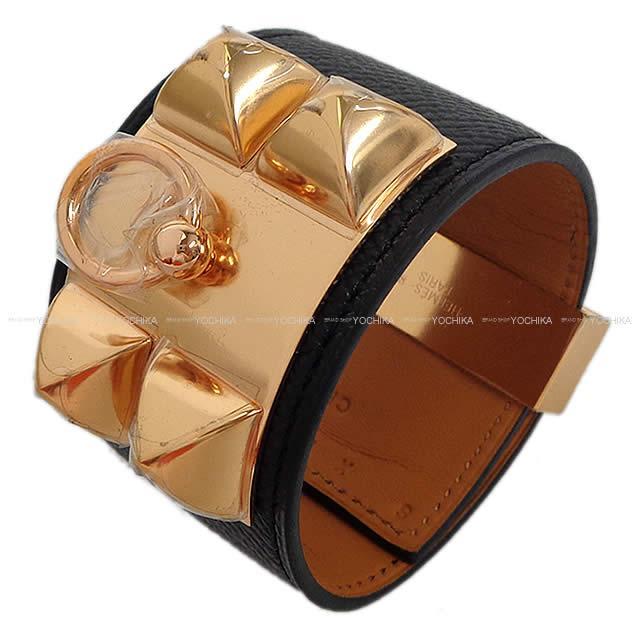 HERMES エルメス メドールブレスレット コリエ・ド・シアン (CDC) #S 黒 エプソン ローズゴールド金具 新品未使用
