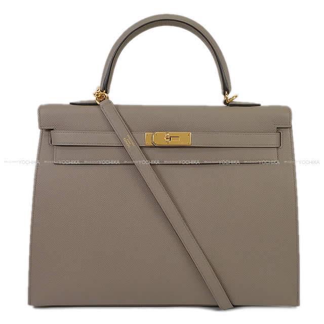 HERMES エルメス ハンドバッグ ケリー35 内縫い エトープ トゴ シルバー金具 新品未使用