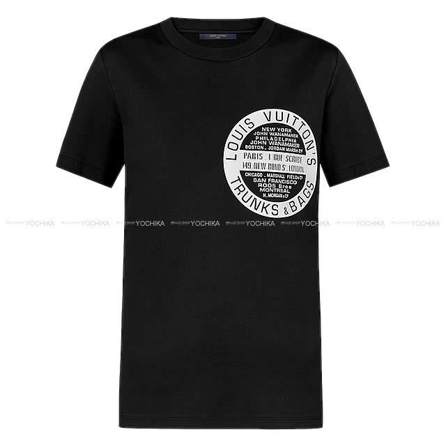 LOUIS VUITTON ルイ・ヴィトン ''ワールドツアースタンプ ロゴ Tシャツ'' 黒 #XS 1A4HMU 新品
