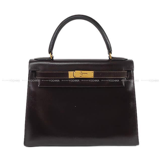 HERMES エルメス ハンドバッグ ケリー28 外縫い ショコラ ボックスカーフ ゴールド金具