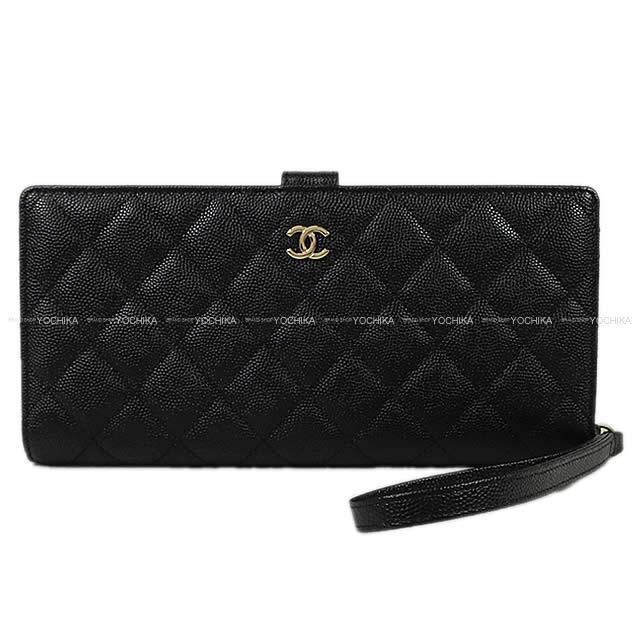 CHANEL シャネル マトラッセ ストラップ付 二つ折 財布 クラッチ ウォレット バッグ 黒