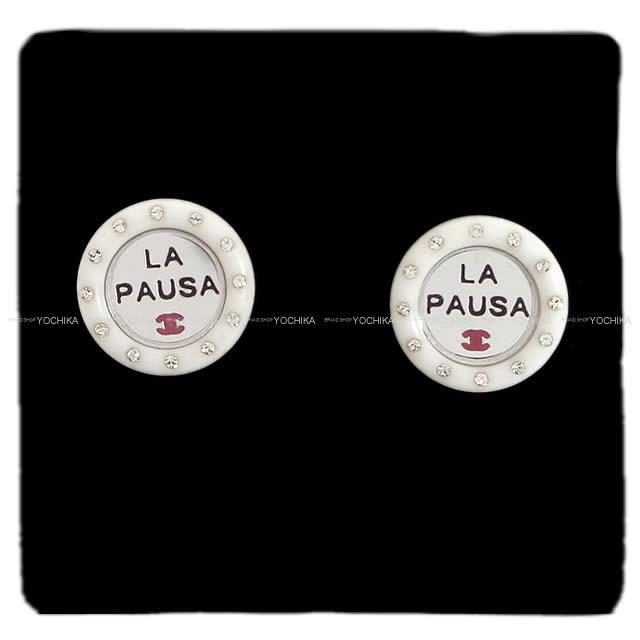 """シャネル """"LA PAUSA"""" ラインストーン ココマーク サークル パール ピアス メタリックブルー AB0757 新品"""