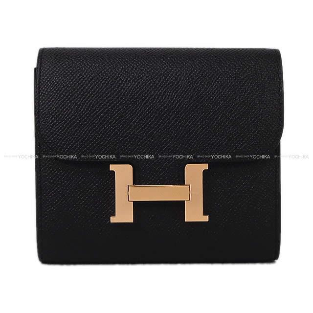 HERMES エルメス 財布 コンスタンス コンパクト 黒(ブラック) エプソン ローズゴールド金具 新品