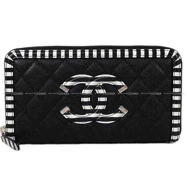 CHANEL マトラッセ ビッグココマーク ボーダー フレーム ラウンドファスナー 長財布 黒X白 新品