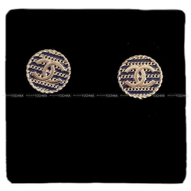CHANEL シャネル ボーダー コイン ココマーク ピアス ピンク ゴールド金具 AB0706 新品