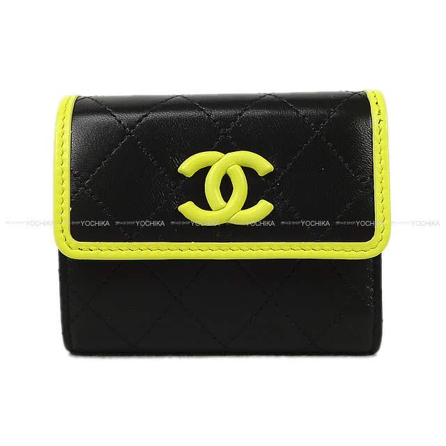 CHANEL シャネル マトラッセ バイカラー 三つ折 コンパクト 財布 黒(ブラック)Xライトグリーン ラムスキン シルバー金具 AP0063 新品