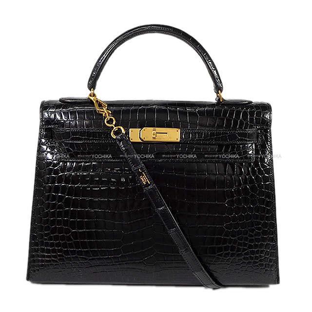 エルメス ハンドバッグ ケリー32 外縫い 黒 クロコダイル ポロサス ゴールド金具 Aランク【中古】