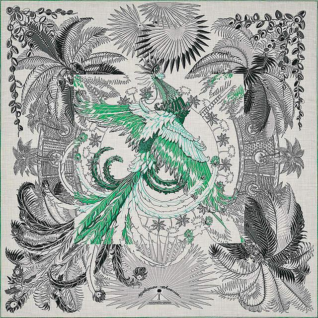 "HERMES エルメス ショール カレ140 ""不死鳥の神話 コロリアージュ"" グリシンX黒(ブラック)Xヴェール"