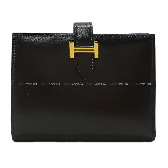 HERMES エルメス 財布 ベアンコンパクト 黒(ブラック) ボックスカーフ ゴールド金具 新品未使用