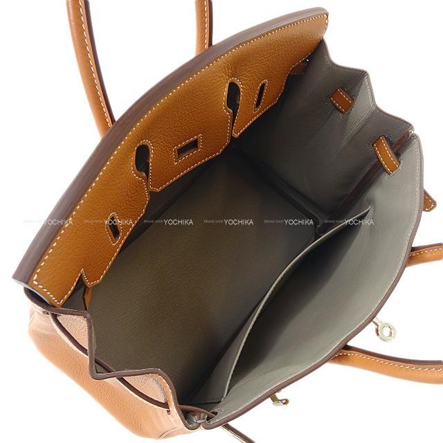 エルメス ハンドバッグ バーキン25 ヴェルソ ゴールド/トゥルティールグレー トリヨンノヴィーヨ シルバー金具 新品