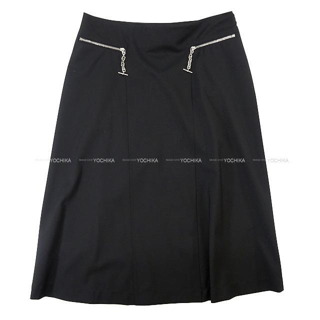 HERMES エルメス レディース ひざ丈 フレア シェーヌダンクル スカート #34 黒(ブラック) ウール100% 新品