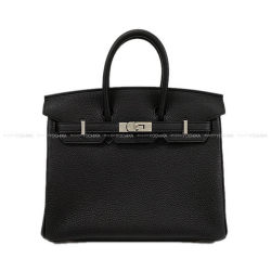 HERMES エルメス ハンドバッグ バーキン25 黒(ブラック) トゴ シルバー金具 新品