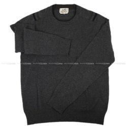HERMES エルメス メンズ SOLDES品 セーター クールネック 3色切替 #M グレー カシミア 新品同様【中古】