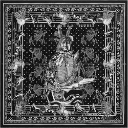 """HERMES エルメス バンダナ カレ55 """"パウニー族の首長"""" 黒X白 シルク100% 新品"""