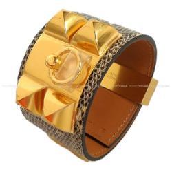 HERMES エルメス メドールブレスレット コリエ・ド・シアン (CDC) #S オンブレ リザード ゴールド金具 新品未使用