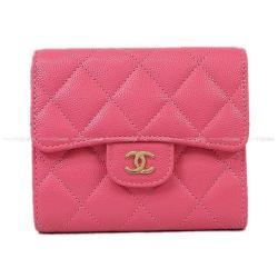 CHANEL シャネル マトラッセ コンパクト 三つ折り 財布 ピンク キャビアスキン A82288 新品