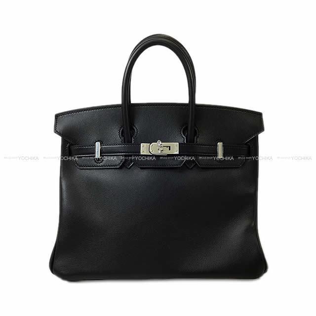 HERMES エルメス ハンドバッグ バーキン25 黒(ブラック) スイフト シルバー金具 新品