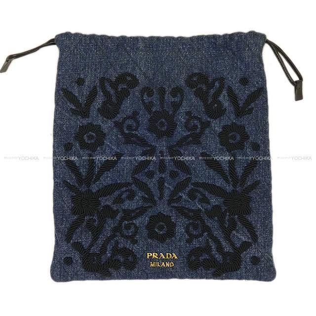 PRADA プラダ フラワー 刺繍 ポーチ キルティング 1MU001 ブルーX黒 キルトデニムXラムスキン 新品未使用