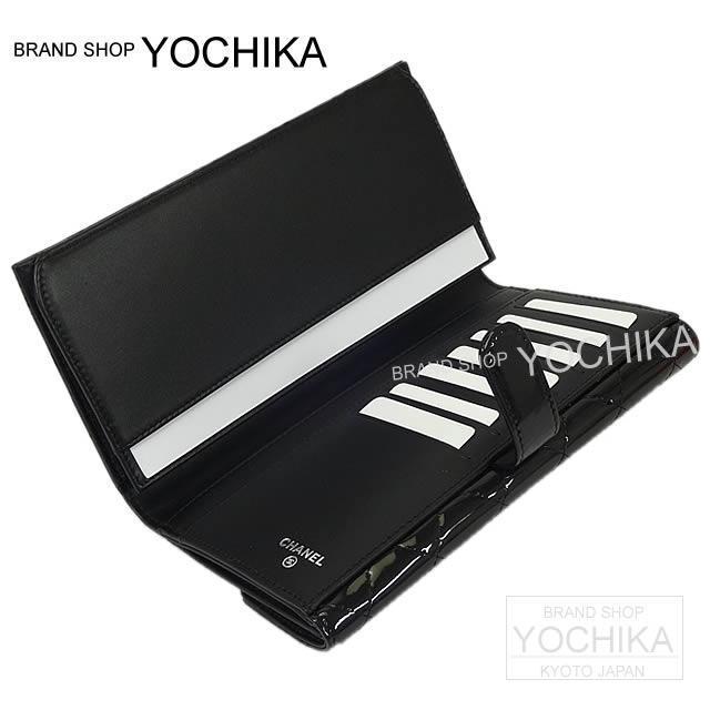CHANEL シャネル ブリリアント Wホック 二つ折 長財布 黒 パテントエナメルレザー A48702 新品