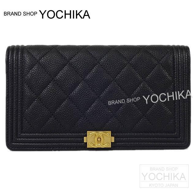 CHANEL シャネル ボーイシャネル 二つ折 長財布 黒Xカーキ キャビアスキン アンティークゴールド金具 A80285 新品