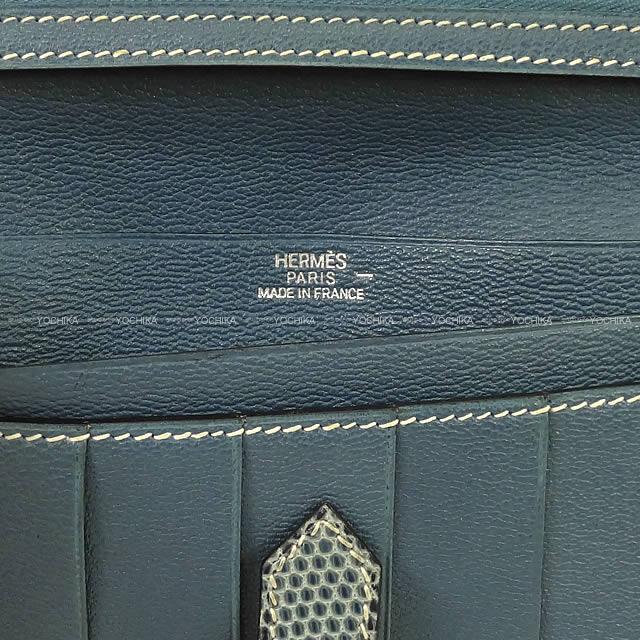 HERMES エルメス 財布 ベアン クラシック ブルージーン リザード ゴールド金具 新品同様【中古】