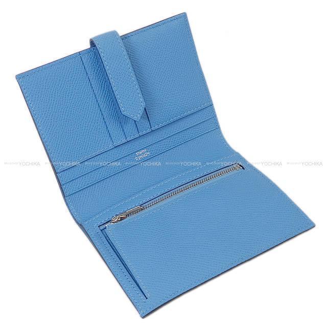 HERMES エルメス 財布 ベアンコンパクト ブルーサフィールXブルーパラダイス エプソン シルバー金具 新品未使用
