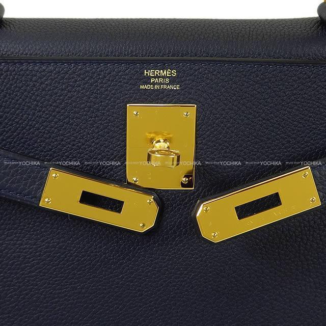 HERMES エルメス ハンドバッグ ケリー28 内縫い ブルーニュイ トゴ ゴールド金具 新品