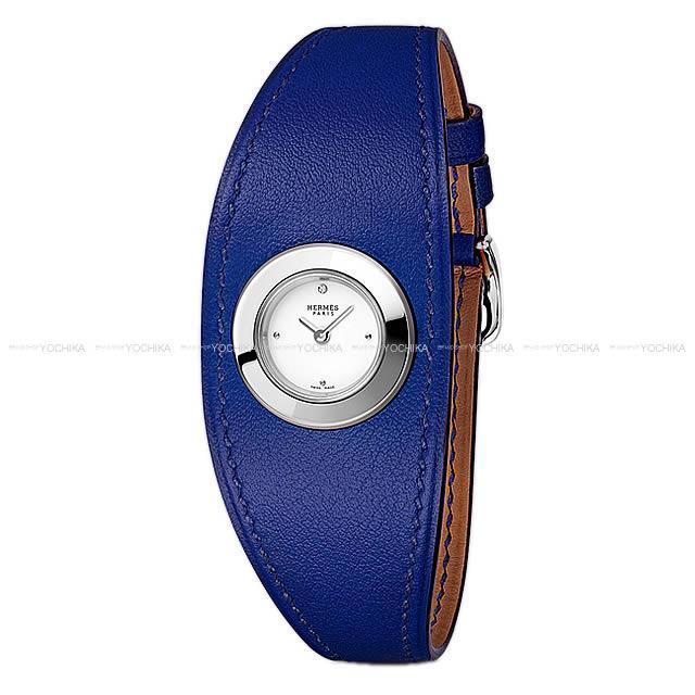 HERMES エルメス レディース 腕時計 フォーヴル マンシェット PM  ブルーエレクトリック スイフト シルバー金具 新品