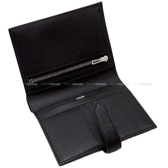 HERMES エルメス 財布 ベアンコンパクト 黒(ブラック) エプソン シルバー金具 新品