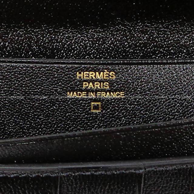HERMES エルメス 財布 ベアンスフレ 黒(ブラック) クロコダイル アリゲーターマット ローズゴールド金具 新品