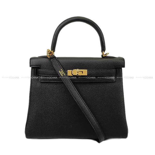HERMES エルメス ハンドバッグ ケリー25 内縫い 黒(ブラック) トゴ ゴールド金具 新品